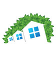 houses and green leaves vector image vector image