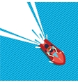Jet ski top view Man riding water skooter Flat vector image