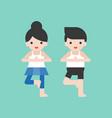 man and woman doing yoga pose flat design vector image