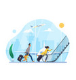 people hurry to board airplane in airport run vector image vector image