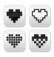 Pixel heart buttons set - love dating onli vector image vector image