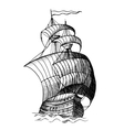 sailing medieval ship vector image
