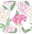 Seamless pattern with peonies and rose vector image vector image