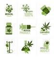 set medical cannabis or marijuana natural product vector image