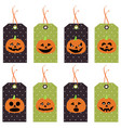 set of cute halloween pumpkins tags vector image vector image