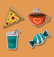 set of food and drinks cartoons vector image