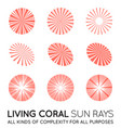 set sunburst rays sun in trendy coral color vector image vector image