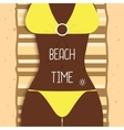 Sexy beautiful dark-skinned girl in bikini Young vector image