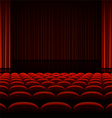 Theater interior with red curtains and seats vector image vector image