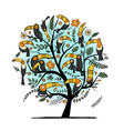 tree with toucans paradise tropical birds for vector image vector image