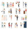trying shop flat people icon set vector image vector image