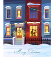 Winter city street with Christmas decorated homes vector image