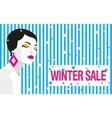 Winter sale Banner Fashion girl Bold minimal vector image vector image