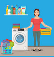 woman housewife washes clothes vector image vector image