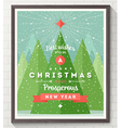 Wooden frame with Flat and type Christmas design vector image vector image