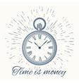 clock and vintage sun burst frameTime is money vector image