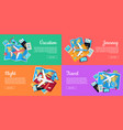 set of conceptual web banners for travel agency vector image