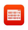 binary code icon digital red vector image vector image