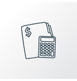budget calculator icon line symbol premium vector image