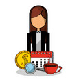 business woman calendar money coffee vector image