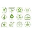 cannabidiol badge design with cannabis leaf vector image