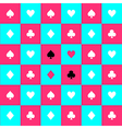Card Suits Blue Pink Chess Board Background vector image vector image