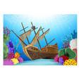 Cartoon of Shipwreck on the ocean vector image vector image