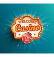 Casino shining retro light frame vector image vector image