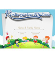 Certification template with children in the park vector image vector image
