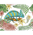 chameleon lizard tropical flowers seamless vector image vector image