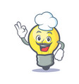 chef light bulb character cartoon vector image vector image