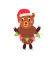 christmas bear icon santa vector image vector image