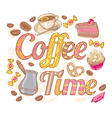 Coffee time colorful invitation card vector image