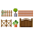 Different design of wooden fences vector image vector image