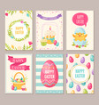 easter cartoon banners set vector image vector image