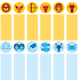 Funny blue and orange zodiac sign icon set vector image