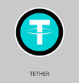 gold tether coin on a gray background virtual vector image