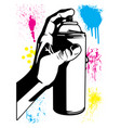 hand using an aerosol can with paint splatters vector image