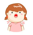 ill girl sore throat cartoon vector image vector image