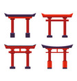 japanese gate icons set on white background vector image vector image