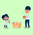 little girl and boy donate toys children do a vector image