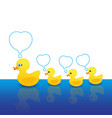 mother duck and duck with a message box vector image vector image