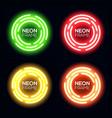 neon light circle set shining round techno frame vector image vector image