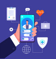 online doctor concept medicine mobile phone app vector image
