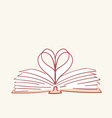 opened book heart love hand drawn style vector image vector image