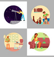 people enjoying their hobbies flat vector image vector image
