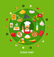 pizza maker round composition vector image vector image