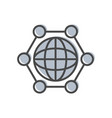 process management icon with globe sign vector image