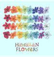 rainbow hawaiian flower lei set vector image vector image