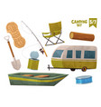rope boat shovel house on wheels fishing rod log vector image vector image